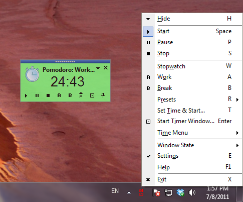 Timer's window with Tray Icon and Context Menu
