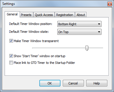 Time selection window
