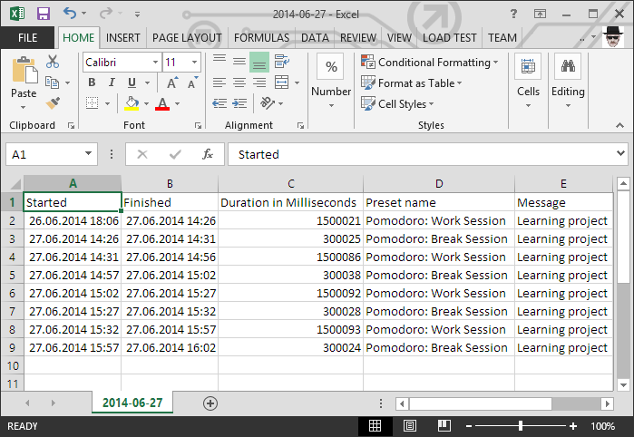 Time Report in CSV format