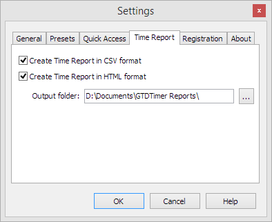 Time Report tab in Settings window