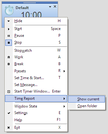 Time Report Context Menu